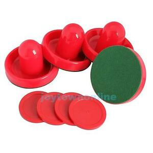 4pcs 96mm Red Air Hockey Pusher Table Goalies Felt Mallet Grip + 4pcs 63mm Puck