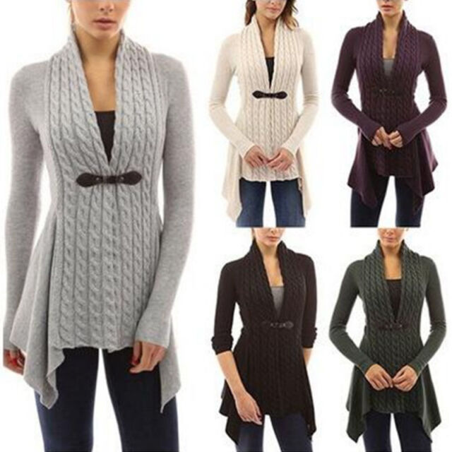 Women's Long Sleeve Braid Front Cardigan With Buckle Knitwear Warm Sweaters Coat