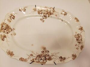 Vintage-Oval-Serving-Plate-Floral-Vines-Alfred-Meakin-England