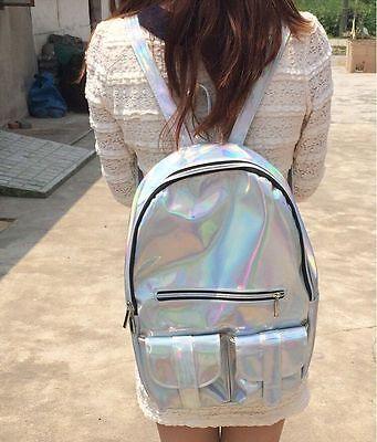 New Women's SILVER HOLOGRAPHIC Gammaray Hologram Backpack PU Shoulder Bag