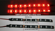 2 Red 5050 chip 6 inch long   9 LED Waterproof Flexible Strip BLACK PCB board