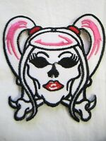 "CROSS BONES HEAD NEW, 3-7/8"" X 3-1/2"" EMBROIDERED MOTORCYCLE PATCH SEWN/IRON ON"