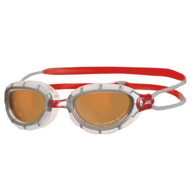 Zoggs Predator Polarised Ultra Swim Goggles FINA Approved Silver/Clear/Red