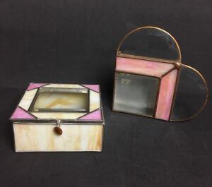 Vtg Pink Stained Glas Napkin Holder & Beveled Trinket Jewelry Mirror Box Set