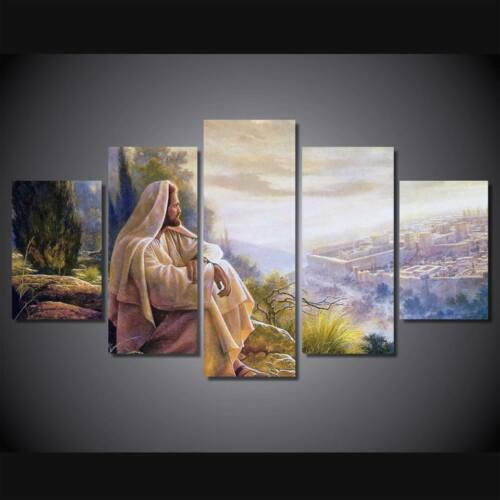 Jesus overlooking jerusalem five pieces framed toile print home decor wall art