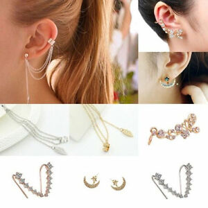 Fashion-Women-Ear-Hook-Plated-Crystal-Rhinestone-Stud-Ear-Clip-Tassel-Earrings