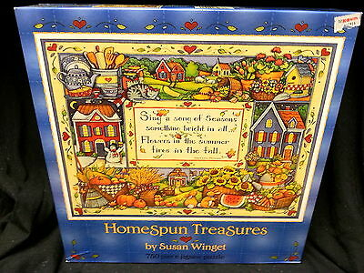 "750 Pc Jigsaw Puzzle Homespun Treasures Susan Winget ""Sing a Song of Seasons"""