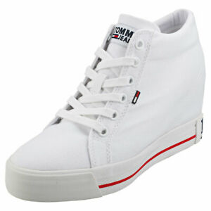Tommy-Jeans-Casual-Sneaker-Womens-White-Textile-Wedge-Trainers