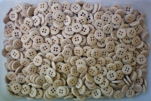 Small 11mm 18L Natural Cream Stone Wood Coloured 4 Hole Shirt Craft Buttons W559