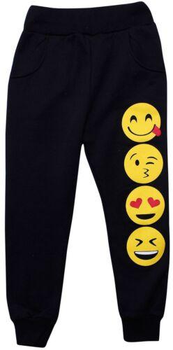 Boys Girls Kids Emoji Tracksuit Hoodie Sweat Top Pants Trousers Jumper Emoticon