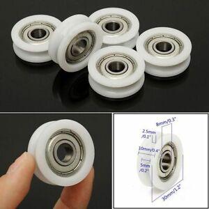 5pcs-8X30X10mm-U-Nylon-Plastic-Embedded-608-Groove-Ball-Bearings-Guide-Pulley
