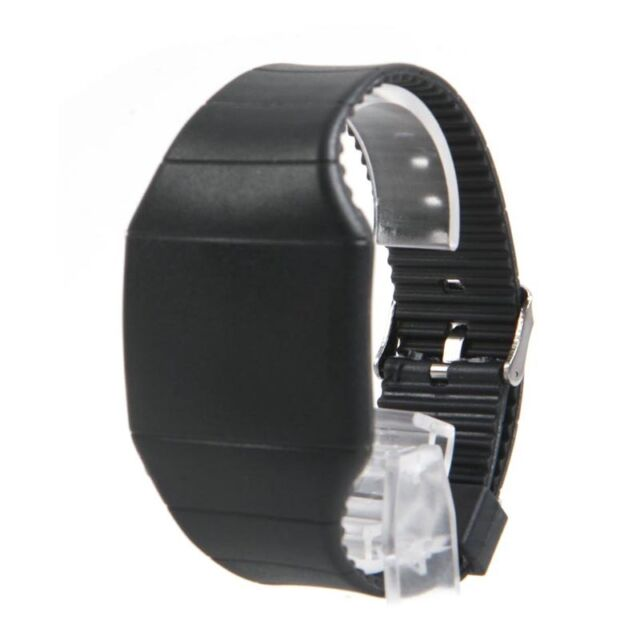 Mens Womens Digital LED Touch Sports TPU Bracelet Wrist Watch Gift Black