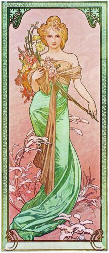 "Spring  c.1900-20/""x48/"" CANVAS ART Alfons Mucha Alphonse"