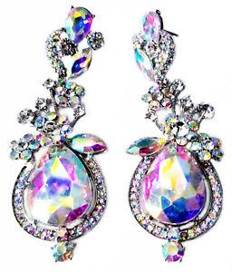 Chandelier-Earrings-Rhinestone-Clear-AB-Teardrop-3-7-inch-Pageant-Bridal-Drag