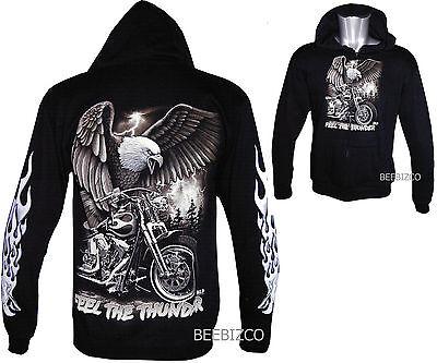 New Eagle Motorbike Native American Zip Zipped Hoodie Hoody Hooded Jacket M -3XL