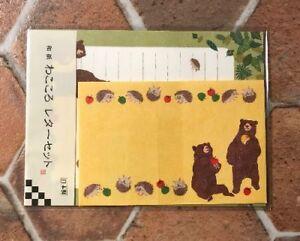 Letter-Sheet-Envelope-Set-Hedgehog-Bear-Apple-Stationery-Japanese
