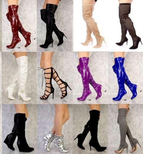 zilver hakken hoge schoenen laarzen rode Gladiator kunstleer nieuwe Veel gouden Metallic u1lc5KTFJ3