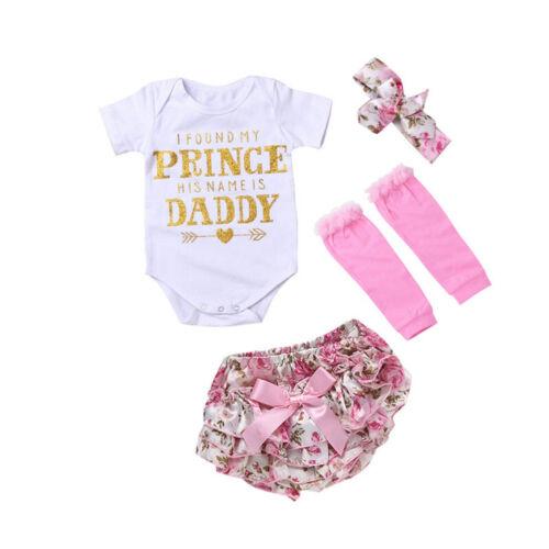 4PCS Newborn Baby Girl Clothes Flower Jumpsuit Romper Bodysuit Headband Outfit