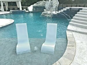 Outdoor Natural Gas Fire Pit Table, Luxury Lounger Pool Chaise Lounge Chair For Ledge In The Water Set Of 2 Chairs Ebay