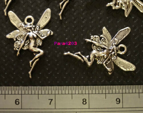 SILVER METAL BRAND NEW **UK SELLER** CARDMAKING//JEWELRY 8 X FAIRY CHARMS