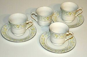 Crown-Ming-Fine-China-Cups-amp-Saucers-set-Vintage-Retro-Tea-Coffee-plate-set-VGC