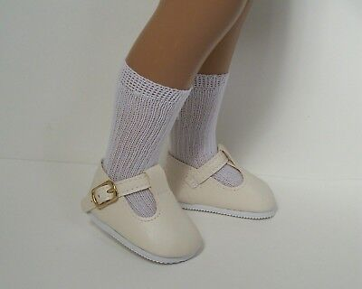 "CREAM Solid T-Strap Tstraps Doll Shoes 16/"" Debs 17/"" Sasha"