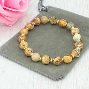 Handmade Natural Picture Jasper Gemstone Stretch Bracelet & Velvet Pouch. 6/8mm