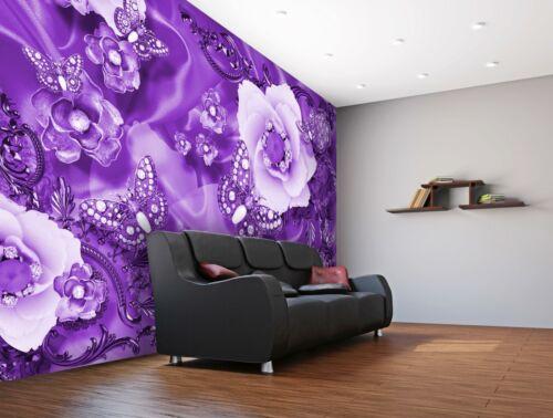 VLIES FOTOTAPETE violett Blumen Diamanten Tapete XXL Vliestapete