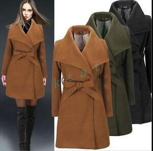British-Womens-Trench-Lapel-Wool-Blend-Belt-Jacket-Coat-Parka-Peacoat-Slim-Fit