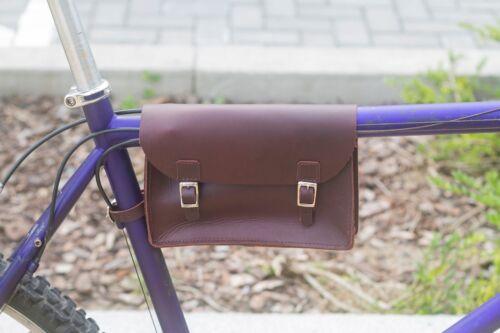 Rahmen Tasche in Echtleder Wein Braun 8.6  X6.5  X2  By Radsport Fahrradzubehör