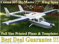 Cessna 337 Skymaster 77 Giant Rc Airplane Full Size Printed Plans & Template