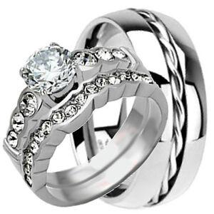 3-pcs-His-Hers-Rope-TITANIUM-amp-Stainless-Steel-Wedding-Bridal-Matching-Rings-Set