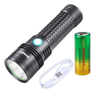 20000LM Skywolfeye LED Flashlight Torch USB Rechargeable Light + 26650 Battery
