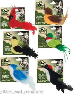 PLAY N SQUEAK REAL BIRDS - Asst Birds RealMouse Squeak Catnip Kitten Cat Toy