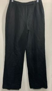 Kasper Para Mujeres Pantalones De Vestir Negra Alta Aumento De Bolsillo Lino Mezcla Pantalones Petites 6p Ebay