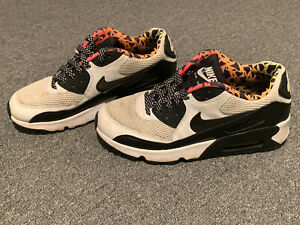 Details about Nike Air Max 90 FB Sneakers Sz Youth 6Y Black & White Leopard Print Kids 833477