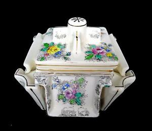 TASHIRO-SHOTEN-JAPAN-5-PC-PORCELAIN-4-1-4-034-CIGARETTE-HOLDER-amp-ASHTRAY-1920-1954