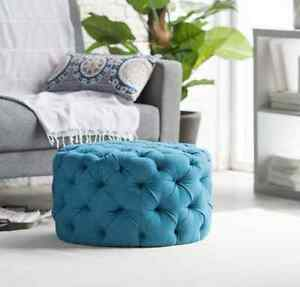 Excellent Details About Large Round Ottoman Tufted Teal Blue Modern Foot Stool Retro Seat Coffee Table Uwap Interior Chair Design Uwaporg