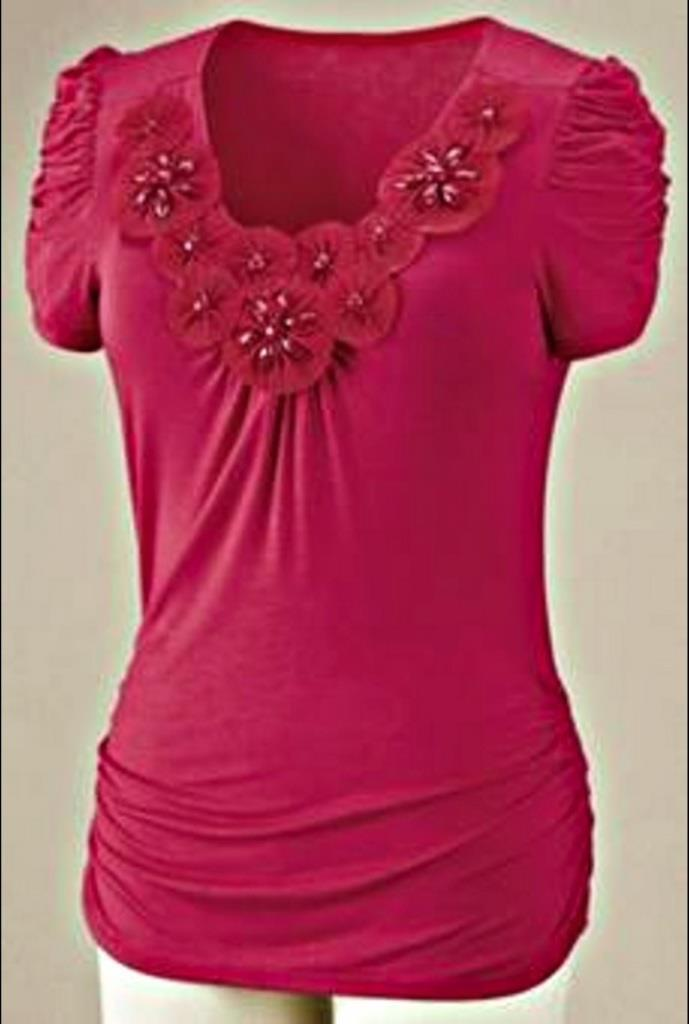Women's Summer Day Work Cruise Chruch Beach Blossom knit Top tee plus size 2X