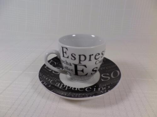 Gibson Everyday Espresso Cappuccino Demitasse Cup /& Saucer Black /& White CUTE!