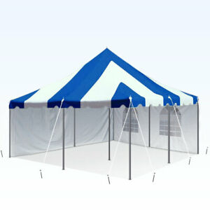 Details about 20x20' Blue White Premium Pole Tent With Sidewall Kit  Waterproof Wedding Party
