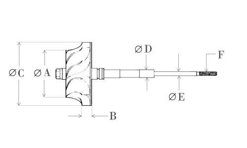 Garrett GT1752S 452204 Turbo Turbine Wheel Shaft Ind:44.45mm  Exd:37.45mm