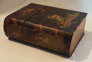 Papier-mache-wood-vintage-Victorian-antique-hand-panted-book-box