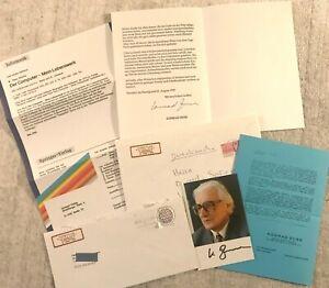 KONRAD ZUSE - Konvolut mit 3 orig. Autogrammen, Werbematerial, Briefumschlägen