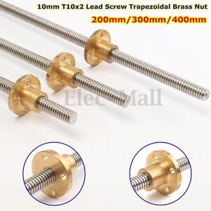 10mm T10x2 Threaded Rod Trapezoidal ACME Lead Screw W/ Brass Nut 200 300 400