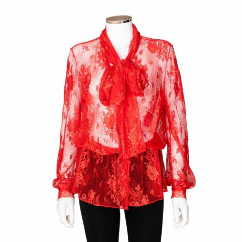 Balenciaga Red Floral Lace Scarf Tie Blouse