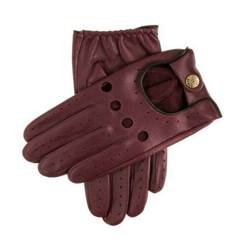 Dents Delta Men's Leather Classic Driving Gloves WINE/BLACK