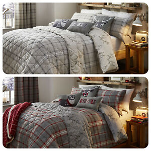 Dreams-amp-Drapes-LUDLOW-Stag-Bedding-Tartan-Check-Duvet-Cover-Set-100-Cotton