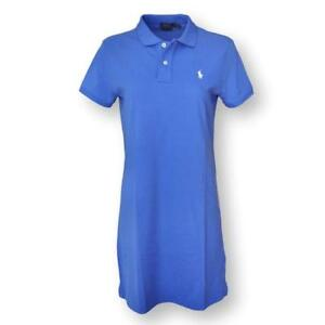 Polo-Ralph-Lauren-Women-039-s-Mesh-Mini-Dress-Tee-Blue-W-White-Pony