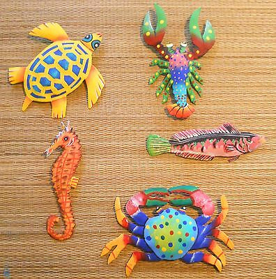 RARE HAND PAINTED SET OF 5 FISH, CRAB, TURTLE & LOBSTER METAL ART WALL HANGINGS
